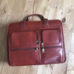 Mancini laptop messenger leather bag
